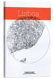 Toile  Lisbon map city black and white - campus graphics