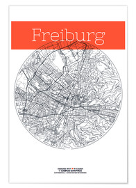 Poster  Freiburg Card City Black and White - campus graphics