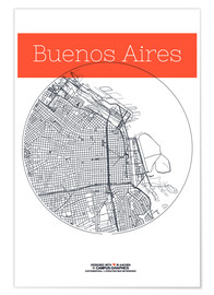 Poster  Buenos Aires map city black and white - campus graphics