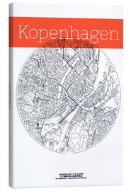 Toile  Copenhagen map city black and white - campus graphics
