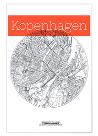 Poster  Plan de Copenhague en noir et blanc - campus graphics