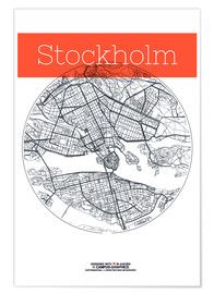 Poster  Cercle de la carte de Stockholm - campus graphics