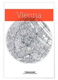 Poster  Vienna map city black and white - campus graphics