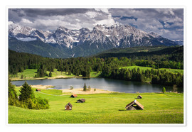 Poster Karwendel mountains with lake in the Alps