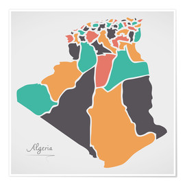 Poster Algeria map modern abstract with round shapes