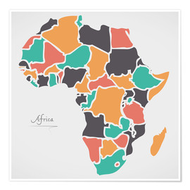 Poster Africa map modern abstract with round shapes