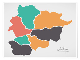 Poster  Andorra map modern abstract with round shapes - Ingo Menhard