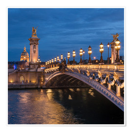 Poster Les Invalides and Pont Alexandre III in Paris, France