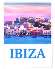 Poster  Retro Poster Ibiza Old Town and Harbour Pearl Of the Mediterranean - M. Bleichner