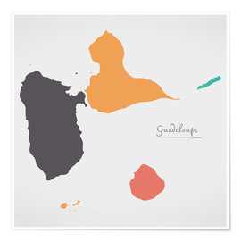 Poster Guadeloupe map modern abstract with round shapes