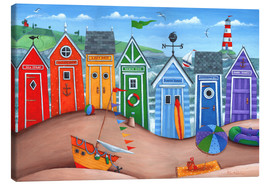 Toile  Beach hut rainbow scene - Peter Adderley
