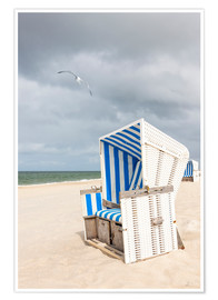 Poster  Seagull and beach chair on Sylt
