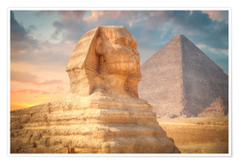 Poster  Sphinx and pyramid