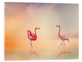 Verre acrylique  Two Flamingoes in The Lake at Sunset