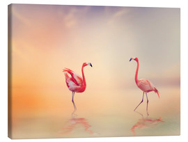Toile  Two Flamingoes in The Lake at Sunset