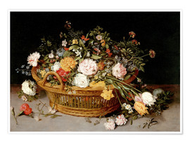 Poster A Basket of Flowers