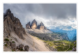 Poster  Cloud sky at Tre Cime in Dolomite Alps - Dieter Meyrl