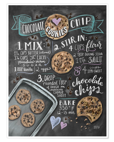 Poster Recette des Chocolate chip cookies (anglais)