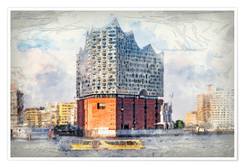 Poster  The new Elbphilharmonie in Hamburg - Peter Roder