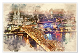 Poster  Cologne Skyline Cologne Cathedral - Peter Roder