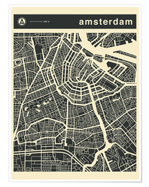 Poster  AMSTERDAM CITY MAP - Jazzberry Blue