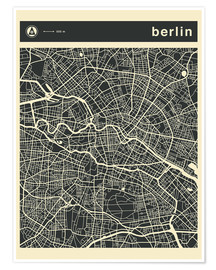 Poster  Carte de Berlin - Jazzberry Blue