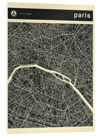 Verre acrylique  PARIS CITY MAP - Jazzberry Blue