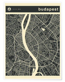Poster  Budapest City Map - Jazzberry Blue