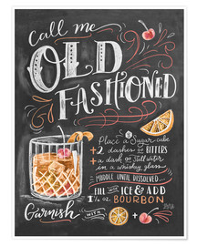 Poster  Recette du Old Fashioned (anglais) - Lily & Val