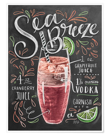 Poster  Recette du cocktail Sea Breeze (anglais) - Lily & Val