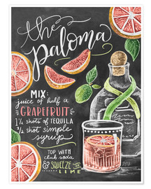 Poster  Recette du cocktail Paloma (anglais) - Lily & Val