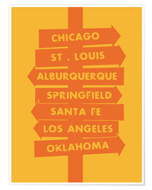 Poster  City signs locations route 66 art print - Nory Glory Prints