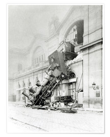 Poster  Accident de train à la gare Montparnasse à Paris, 22 octobre 1895