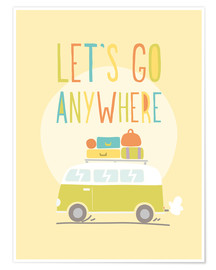 Poster  Let's go anywhere - Typobox