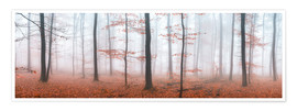 Poster Autumn panorama with red autumn leaves in the forest