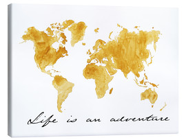 Tableau sur toile  Mappemonde, Life is an adventure - Nadine Conrad