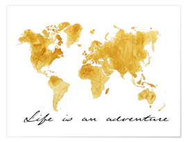 Poster  Mappemonde, Life is an adventure - Nadine Conrad