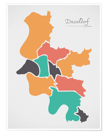 Poster Dusseldorf city map modern abstract with round shapes