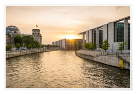 Poster Sunset at the Reichstag in Berlin