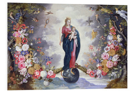 Tableau en PVC  The Virgin and Child surrounded by a garland - Jan Brueghel d.Ä.