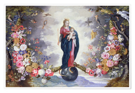 Poster The Virgin and Child surrounded by a garland