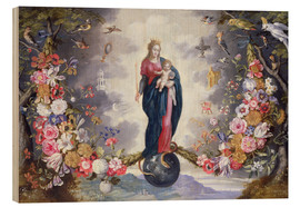 Tableau en bois  The Virgin and Child surrounded by a garland - Jan Brueghel d.Ä.