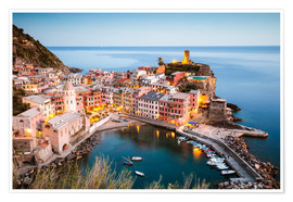 Poster Evening at Vernazza, Cinque Terre, Italy