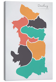 Tableau sur toile  Duisburg city map modern abstract with round shapes - Ingo Menhard