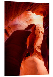 Tableau en verre acrylique  Formation in Canyon X slot canyon, Page, Arizona, USA - Peter Wey