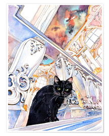 Poster  Black Cat at Museum, Saint-Petersburg, Russia - Anastasia Mamoshina