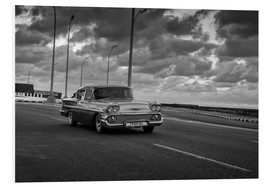 Tableau en PVC  Classic Cuban Car in black and white - Alex Saberi