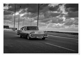 Poster Classic Cuban Car in black and white