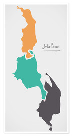 Poster Malawi map modern abstract with round shapes