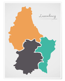 Poster Luxembourg map modern abstract with round shapes